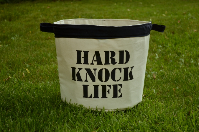 Hard Knock Bucket - free pattern  for a fabric bucket with handles from Hey June Handmade